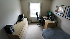Bedroom Panorama (William Hook) Tags: desktop 3 eye ikea apple pc dock bedroom keyboard inch projector desk sony 4 samsung monitor dell short 24 universal z4 lcd jonas playstation speakers aluminium logitech iphone mordaunt 5l optoma 902i z4i steelseries u2410 iphone4 hd65 p2450
