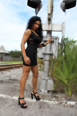 Little Dress & Long Legs (California Will) Tags: edna model latina ybor city tampa fl florida blackdress beauty beautiful beaut hermosa railroad