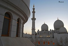 Architecture of Zayed Mosque (.Qanas.) Tags: windows light sky white building art architecture golden big nikon view angle jan pov top islam religion uae scene mosque zayed dome area huge abu dhabi qanas 2011