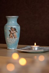 vase and candle holder (C'est Beau!) Tags: blue angel silver candle handmade painted decoration craft vase decoupage