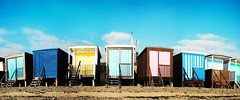 Beach hut panorama (louisahennessysuou) Tags: sea panorama beach thames seaside estuary prom essex beachhuts southend southendonsea thorpebay t189522011week5