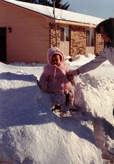 There's a blizzard coming! (Trish P. - K1000 Gal) Tags: winter baby snow film mom 1982 brighton pentax k1000 michigan blizzard