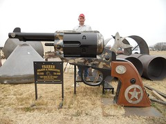 John Trahan & his Colt .45 BBQ (twm1340) Tags: army long texas action tx welding bbq 45 grill replica single custom smoker handgun colt fabrication trahan iowapark johntrahan