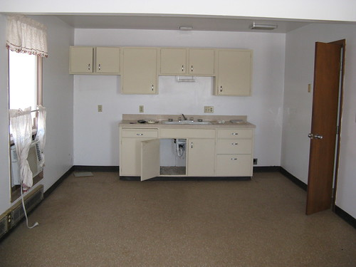 A kitchen at the Parkview complex before remodeling.