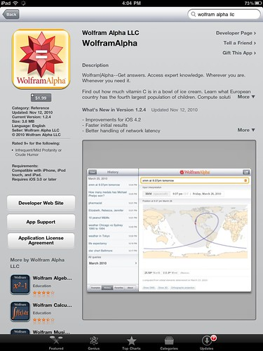 Wolfram Alpha on iPad
