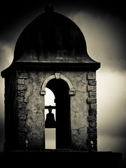 The Bell Tower (Kiki FL) Tags: world show park sunset white black detail monochrome architecture facade studio lights orlando boulevard florida action olympus disney architectural motors hollywood theme duotone wdw walt zuiko feature stunt e5 zd