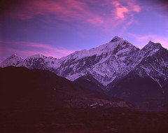 View over Nilgiri from Jomson (chenresig) Tags: nepal mountains film landscape fuji velvia 4x5 chamonix largeformat schneider symmars 15056