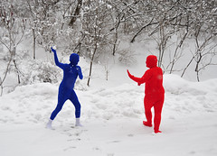 Playing in the snow (Len Radin) Tags: snowflake blue school winter red bw snow playing black cold forest theatre suit snowball snowing root drama frigid playful throw radin dramaclass northadams blueperson highschoolstudents redperson highschooltheatre druryhighschool drurydrama rootsuit