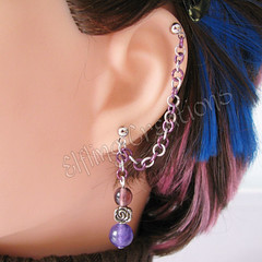 Purple Flower Cartilage Chain Earring