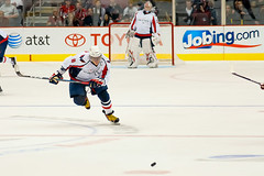 Ovechkin Races for Puck