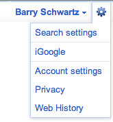 Google New Top Bar - Options Gear