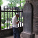 Hui Chinese man studies stone tablet - Xi'an Great Mosque