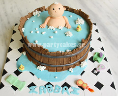 baby in bath (Party Cakes By Samantha) Tags: baby water cake soap bath barrel towel shampoo tiles tub spill talc