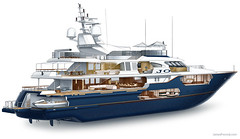 Luxury Yacht Cutaway (James Provost) Tags: illustration boat marine yacht motoryacht cabins cutaway megayacht superyacht technicalillustration