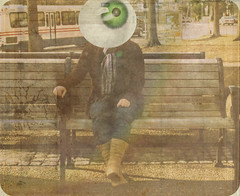 Green-eyed with envy. ||14:52|| (Electroluminescence [Cee]) Tags: city trees bus green eye texture girl car scarf canon project bench washingtondc boots 14 dream jeans jacket seven imagine imagination envy weeks edit jealous 52 sins deadly pretend sevendeadlysins idiom electrophotography 52weekproject rebelxsi