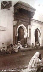 Tangiers, Doorway, Socco Mosque, c 1930s (ronramstew) Tags: old people bw 1930s postcard mosque morocco maroc marocco mezquita marruecos tangier marokko tanger tangiers zoco tanja socco lemaroc