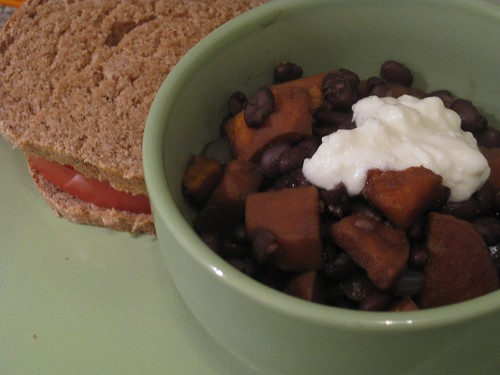Barbeque tofu and black bean chili