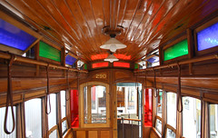 Inside the 290 (mattyp_) Tags: blue red history wooden rail stainedglass nsw newsouthwales sutherland trams loftus cclass 290 pc2232 1896 auspctagged 2232 sydneytramwaymuseum