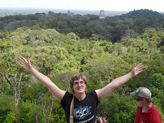 Joel DeWald atop an ancient Mayan temple