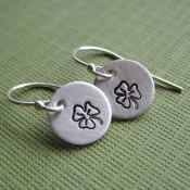 """""""Luck"""" Tiny Shamrock Earrings"""