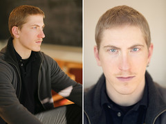 How Headshots are Made (DLevin) Tags: light portrait man male diptych university classroom joey f14 naturallight headshot acting actor 5d canon5d diptychs goodlight 35l universityofpugetsound canon35mmf14 sigma85mmf14