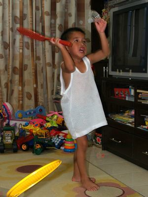 Julian plays badminton
