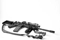 Colt (DannyLongIsland) Tags: bw white black canon gun ar rifle sling 5d highkey apollo softbox colt ar15 firearm lmt onelight surefire 420ex 35l strobist vtac