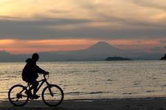 富士を見ながらこぐ
