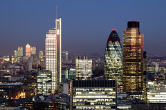 City of London (david.bank (www.david-bank.com)) Tags: city uk england money london canon twilight skyscrapers dusk bank barbican wharf bluehour canary gherkin economy 30stmaryaxe tower42 finance lauderdaletower onecanadasquare herontower