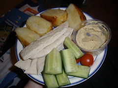 Pitta bread fingers, roasties, etc. with leftover hummus