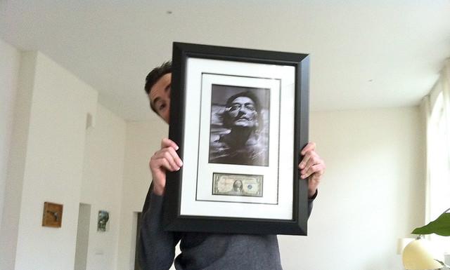 Salvador Dali autographed dollar bill