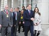 Prince William and Kate Middleton visit City Hall in Belfast with the Lord Mayor of Belfast Councillor Patrick McConvery