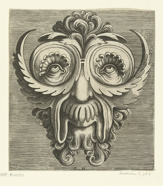 engraving zoological mask