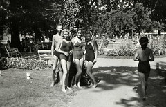 1942. (elinor04 thanks for 28,000,000+ views!) Tags: park family girls summer men fashion strand vintage photo women hungary 1940s bathing benches hairstyle swimsuits bathingsuits backgroundpeople