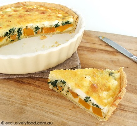 Exclusively FoodPumpkin, Spinach and Feta Quiche Recipe