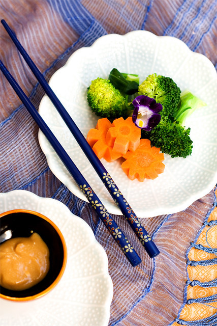 steamed vegies with miso dressing....