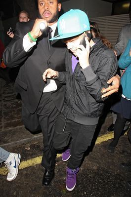 Justin Bieber Leaving The Mayfair Hotel (USA ONLY)