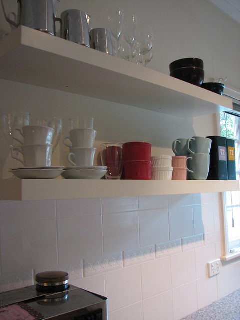 DIY kitchen make over/ IKEA LACK open shelving
