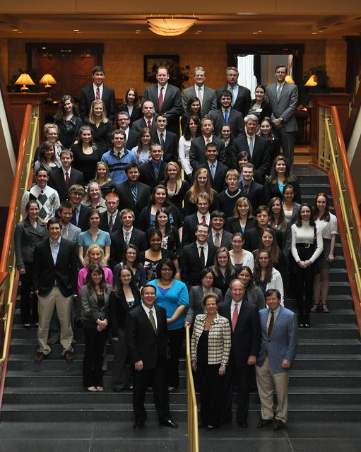 Participants in CNU's President's Leadership Program, sponsored by Smithfield, pose during recognition reception.