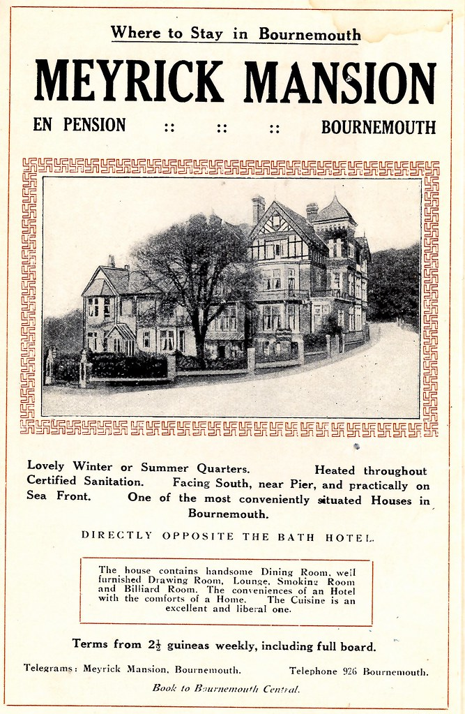 THE MEYRICK MANSION HOTEL. CORNER OF WESTOVER RD AND HINTON RD.  BOURNEMOUTH.  1913