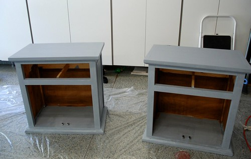 The nightstands are primed