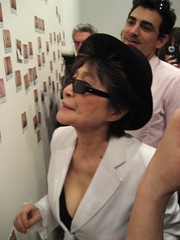 "Yoko Ono with ""touch me II"" ('08) for ""touch me"" at Galerie Lelong, NYC, April 18, '08 - 1 (mickeyono2005) Tags: newyorkcity newyork canvas yokoono artexhibition touchme galerielelong polaroidphotograph touchmeii2008"