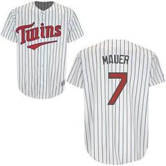 Minnesota Twins #7 Joe Mauer White Blue Strip Home Jersey (Terasa2008) Tags: jersey minnesotatwins  cheapjerseyswholesale cheapmlbjerseys mlbjerseysfromchina mlbjerseysforsale cheapminnesotatwinsjerseys