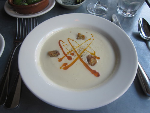 Delfina - San Francisco - March 2011 - Cauliflower Soup With Paprika Oil and Cumin Croutons