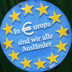 In Europe we are all foreigners (Marc Broens) Tags: blue holland green netherlands sign yellow square stars europa europe arnhem squaredcircle foreigners squared 2010 €uropa auslander colorphotoaward