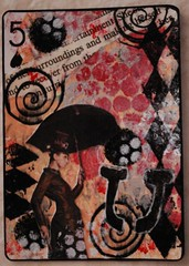 U IS FOR UMBRELLA (Beth Kingery Creations) Tags: red woman white black color art atc artisttradingcard collage lady pen ink umbrella diamonds paper book design paint image handmade 5 five mixedmedia text creative peach craft stamp card swap u page marker swirls create dots apc trade gel spades alteredplayingcard