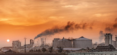 Factory Sunrise! {EXPLORED} ( David.Keochkerian ) Tags: panorama sun digital sunrise soleil factory smoke panoramic manual dri usine chemine blending fume levdesoleil