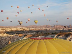 At sunrise the balloons take flight over the Cappodocian moonscape (National Geographic, Contest 2009)