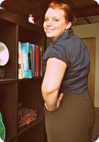 polka dot shirt green skirt2