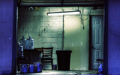 (christian frarey) Tags: door old blue light reflection building colors wall photoshop canon photography eos photo back high chair dynamic room dirty creepy pots photograph 7d boxes range hdr dingy cs3 postprocessing